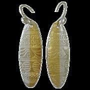 Fine Silver Shield Pendant Earrings with 24kt  Gold