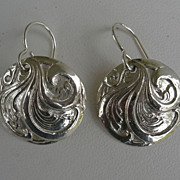 Fine Silver Scroll Earrings - Handcrafted PMC .999