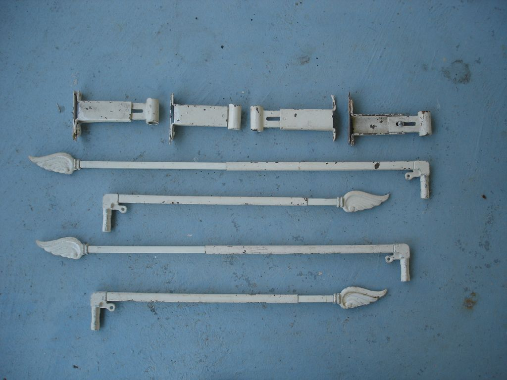 Vintage Swing Arm Curtain Rods With Wing Finales
