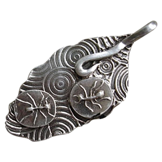 Handcrafted Fine Silver Marching Ants and Leaf Pendant - PMC