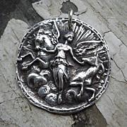 Handcrafted Fine Silver Medallion Pendant - Aurora Goddess of the Dawn
