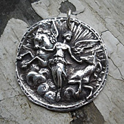 Handcrafted Fine Silver Medallion Pendant - Aurora Goddess of the Dawn