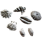 PMC Silver Seashells & Sea Life Charms – Artisan – 7 pieces