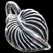 Handcrafted - Fine Silver -  Leaf Heart Pendant - Artisan - 1 piece