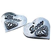 FS Heart Love Charms PMC Handcrafted Artisan - Two Charms