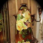 Fabulous Austria HP Vase Limoges Styled Yellow Roses