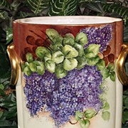 Bavaria HUGE Cache Pot Gorgeous Limoges Styled HP Lilacs/Violets