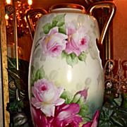 Austria  Huge Handled Signed Vase with Pink and Red Roses