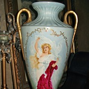 Belleek HUGE Vase with HP Portrait of Beautiful Maiden