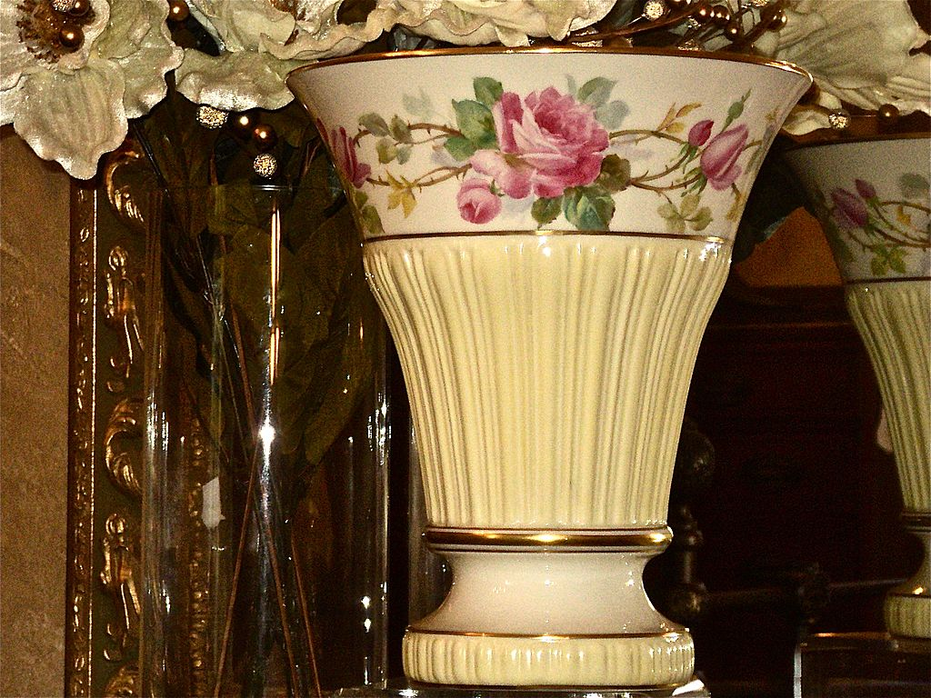 Lenox Belleek Large Flared Vase Roses Signed G. Morley