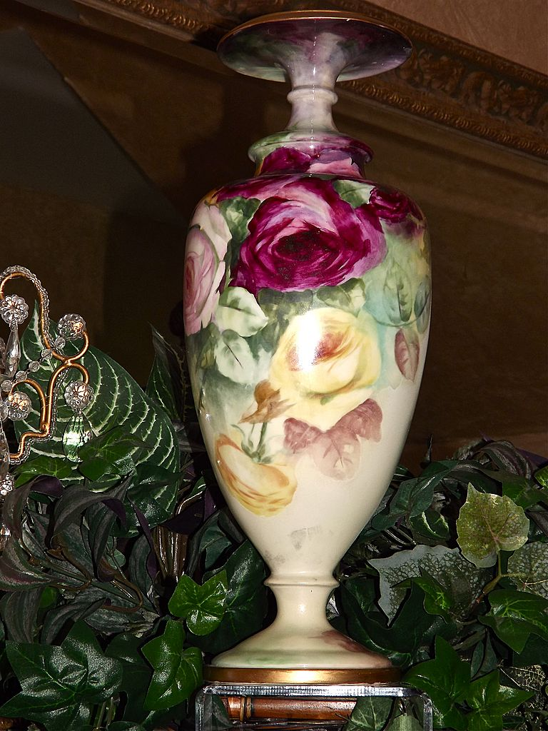 Belleek Large Cac Footed Vase With Gorgeous Pink Yellow