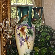 Huge Willets Belleek Signed Classic Mold Grapes Vase Amazing Colors