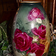 Willets Belleek Huge Vase with Incredible Ruby Red/Pink and Golden Yellow Roses and Amazing Color