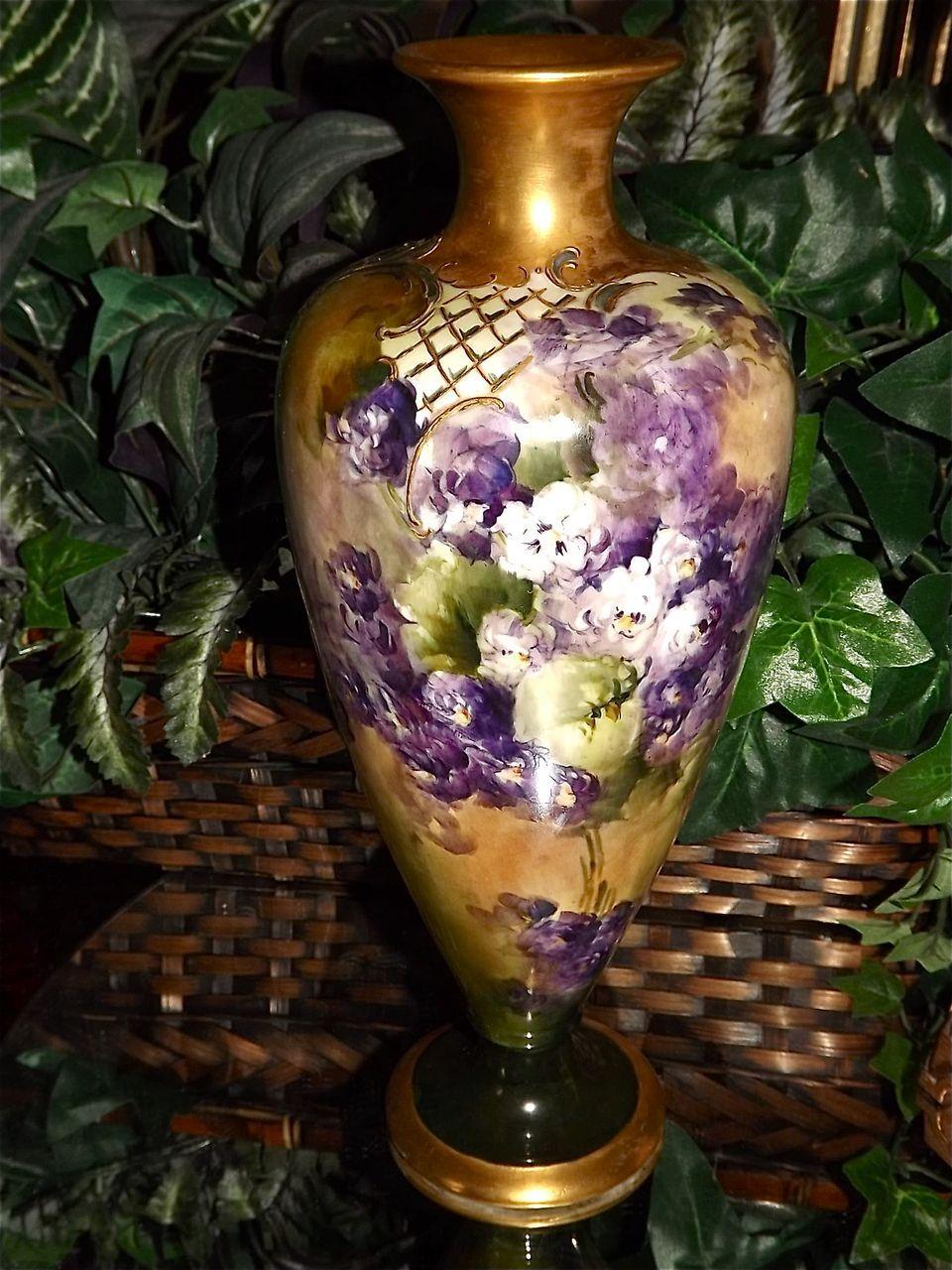Cac ceramic art company belleek vase with hand painted purple cac ceramic art company belleek vase with hand painted purple and all things love lee ruby lane reviewsmspy