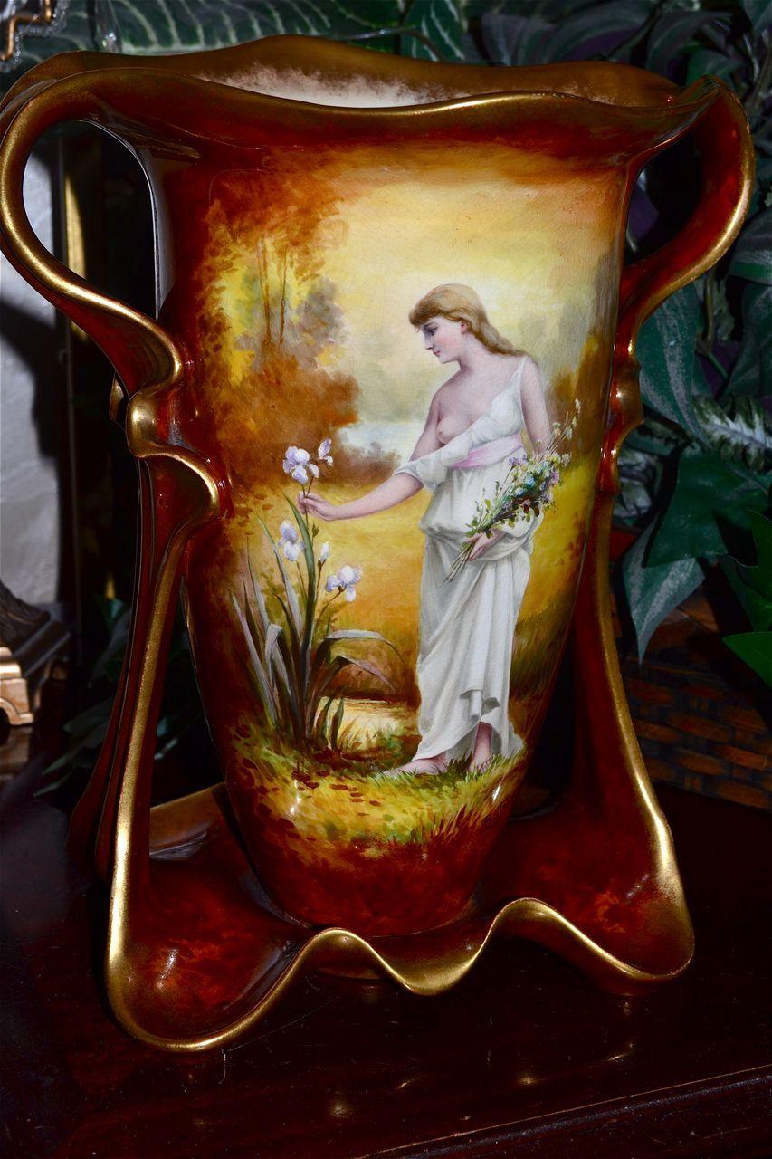 Huge Royal Bonn Hand Painted Signed Portrait Vase Unique