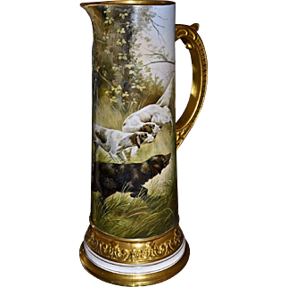 American Belleek CAC/Lenox Huge Tankard Decorated by Listed Well-Known Artist A. Heidrich Featuring Hunting Dogs in Woodland Scene Embellished with Heavy Gold Detailing
