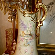 Royal Bonn Rare Pitcher with Urn and Wildflower Decor