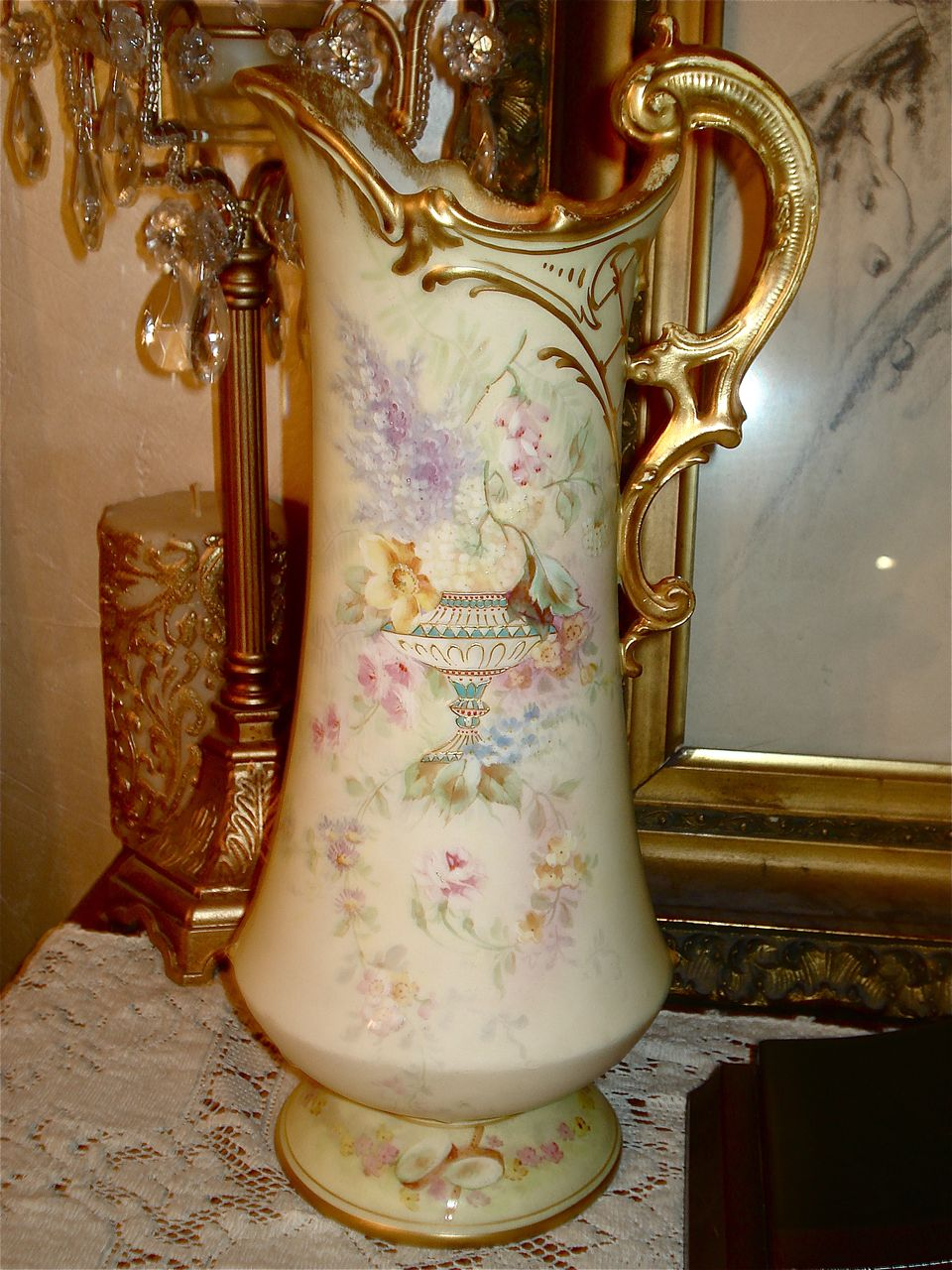 royal bonn rare pitcher with urn and wildflower decor from. Black Bedroom Furniture Sets. Home Design Ideas