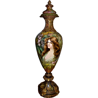 Royal Bonn Spectacular Monumental Museum Quality Lidded Portrait Urn of Lovely Young Beauty with Set Against Incredible Scenic Background Signed Master German Listed Artist F. Henseler