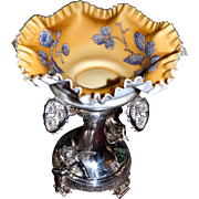 Stunning Gold Mt. Washington Ruffled Edged Brides Bowl with Encrusted Moriage Pine Cone Design and Meriden Silverplated Cherub Basket/Stand