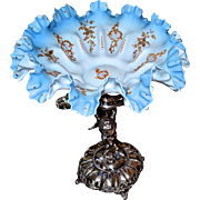 Brides Basket: Victorian 1880's Robbins Egg Blue Brides Ruffled Edge Satin Bowl with Raised Gold Flourishes, Orange Beading and Painted Flowers on Silver Plated Cherub Basket/Centerpiece