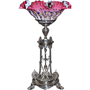 Brides Basket: Magnificent English 1860's Victorian Arabesque Decorated Silver Plated Brides Basket/Centerpiece with Gorgeous Brides Bowl Fading From Dark Coral to Pale Pink and Adorned All Over with Enameled Flowers and Gold Detailing.