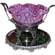 Brides Basket/Centerpiece: Mesmerizing Mt Washington Pink Opalescent Optic Pattern Brides Bowl with Exterior Threading Sitting Atop Rockford Silver Plate Basket Featuring Elaborate Detailing