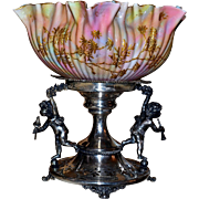 Brides Basket/Centerpiece: Fabulous Rare Webb Cased Rainbow Swirl Ribbed and Ruffled Art Glass Brides Bowl with Robin Blue Interior and Gold Enamel Blossom and Branch Decor Set On Amazing Derby #1303 SP Basket with Cherubs and Reticulated Base