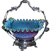 Brides Basket/Centerpiece:  Spectacular and Extremely Rare Bluerina Satin Mother of Pearl Diamond Quilted Brides Bowl in Signed Pairpoint Berry and Leaf Decor SP Basket