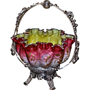 Brides Basket/Centerpiece:  Thomas Webb Deep Cranberry to Pink Herringbone Ruffled Rim Brides Bowl with Yellow Interior and Wonderful Gold Floral Enameling and Blue Flowers Sitting in Superb Middletown #775 Silver Plated Handled Brides Basket