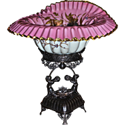 Brides Basket/Centerpiece: Extremely Rare and Breathtaking Museum Quality Meriden Flint Glass Company Pink Jack in the Pulpit Pink Cased Brides Bowl Extraordinary Gold/Enamel Decor Sitting Atop Original Meriden Silver Plate Dual Cherubs Brides Basket