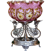 Brides Basket/Centerpiece:  Marvelous Webb Brides Bowl Pink Mother of Pearl Satin Herringbone with Incredible Gold Work & Spectacular Enameled Mums Green Interior Atop One-of-a-Kind Meriden Silver Plated Stunning Basket with Flying Egrets