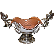 Brides Basket/Centerpiece:  Webb Cased Apricot Satin Mother of Pearl Diamond Quilt Brides Bowl with Enamel Floral Decor Sitting in Phenomenal Reed & Barton Holder Featuring Flanking Winged Cherubs