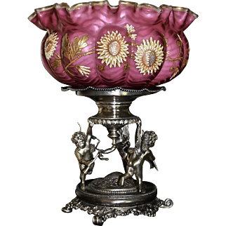 Brides Basket/Centerpiece: Marvelous Webb Brides Bowl Deep Raspberry Pink Mother of Pearl Satin Herringbone with Incredible Gold Work & Spectacular Enameled Mums Green Interior Sitting on Wonderful Derby Three Winged Cherub Silver Plated Basket