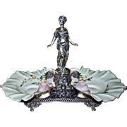 Brides Basket/Centerpiece:  Incredible Meriden Double Brides Basket Featuring Full Figured Roman Goddess and Winged Cherubs With Two Spectacular Matching Mt. Washington Soft Celery Green and Pink Cased Satin Glass Brides Bowl with Yellow Rose Decor