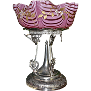 Brides Basket/Centerpiece:  Rare Incredible Webb Cranberry Nailsea Brides Bowl with Gold and Enamel Floral Decor Sitting on Huge Rogers #1093 Quadruple Plated Ornate Brides Basket