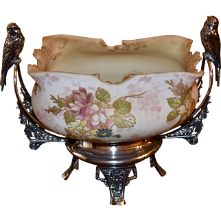 Brides Basket: Rare lMt Washington Crown Milano Brides Bowl Gold Outlined Pink/Yellow Roses with Interior of Gorgeous Blush Colored Flourishes Sitting in a Magnificent Ornate Pairpoint Basket with Feathered Birds Perched on Each Handle