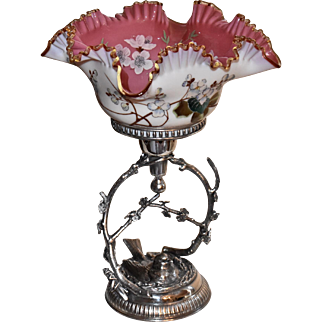 Brides Basket/Centerpiece:Cased Art Glass Ruffled Bowl White Exterior Decorated with Breathtaking Pink Interior Heavily Adorned with Enamel/Gilt Cherry Blossoms Sitting in Meriden SP Brides Basket with Flowered Branches and Bird in Nest