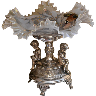 Brides Basket/Centerpiece:  Victorian Art Glass Opalescent Crimped Bowl Bird and Floral Decor Sitting in Meriden #1684 Cupid Basket