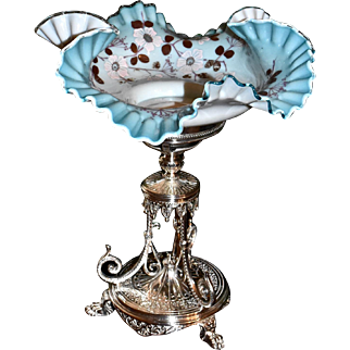 Brides Basket/Centerpiece:  Art Glass Cased Brides Bowl Marvelous Blue Interior with Ruffled and Folded Rim Decorated with Soft Baby Pink Floral Decor Sitting in
