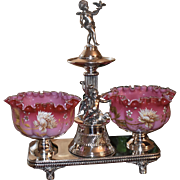 Double Brides Basket/Centerpiece:  Webb Art Cased Melon Ribbed Magnificently Decorated Brides Bowls Together with Monumental Double Brides Basket Featuring Three Frolicking Full Sized Cherubs/Putti