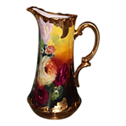 Limoges/Pickard Amazing HP Tankard/Pitcher With Exquisite Roses Signed Burton