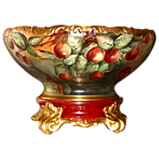 Limoges Huge Vibrant Cherry Filled Punch Bowl and Matching Plinth