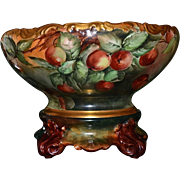 Limoges Huge Punch Bowl with Dramatic and Vibrant  Colors Covered In Large Cherries Together With Matching Plinth