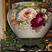 Limoges Jardiniere/Planter/Vase with Red/Pink/Yellow/Tea Roses and Plinth/Base
