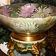 Limoges Enormous Punch Bowl Decorated with Embellished White and Pink Mums together with Plinth/Base