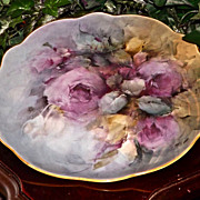 Limoges Large Signed Charger/Plaque with Bischoff Like Gorgeous Purple Roses
