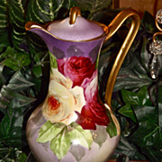 Limoges Fabulous Brounssillon Decorated Rose Filled Chocolate Pot