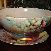 Limoges Stunning Signed Grape Punch Bowl and Underplate Vibrant Colors