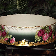 Limoges CenterPiece Bowl/Vase/Jardiniere with Red/Pink Roses and Ornate Gold Mold Trim
